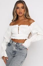 It's Like That Long Sleeve Crop White