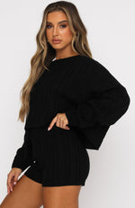 We're Forever Knit Crop Black