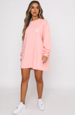 Pass The Time Long Sleeve Tee Dress Peach