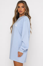 Pass The Time Long Sleeve Tee Dress Baby Blue