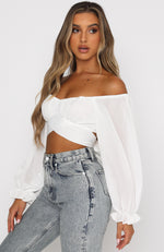 What Is Love Long Sleeve Crop White