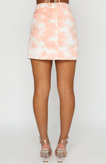 In Focus Mini Skirt Peach Tie Dye
