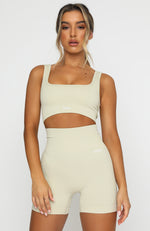 Seamless Ribbed Sports Bra Cuban Sand