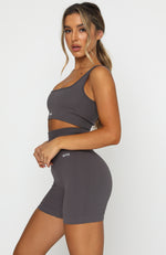 Seamless Ribbed Sports Bra Shadow