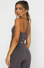 Seamless Ribbed Sports Crop Shadow