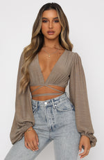 The Night Before Long Sleeve Crop Mocha