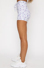 Early Mornings Bike Shorts Purple Floral
