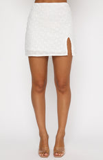 Bucket List Mini Skirt White