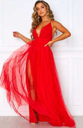 Guest List Maxi Dress Red
