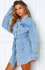Say My Name Denim Dress Acid Blue