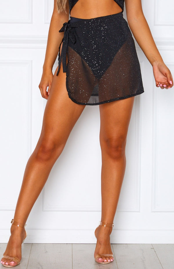 Galaxy Mini Skirt Black Glitter