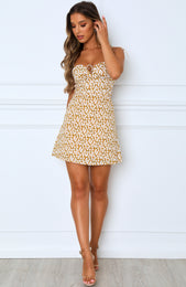 Florentine Mini Dress Yellow Print