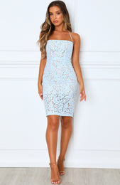Love and Adore Lace Dress Baby Blue