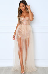 In The Spotlight Maxi Dress Gold