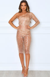 Show Stopper Midi Dress Gold