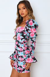 Watch The Runway Mini Dress Black Floral