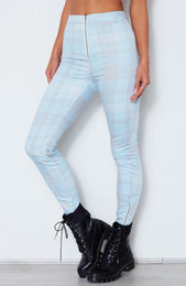As If! Fitted Pants Blue Plaid Print