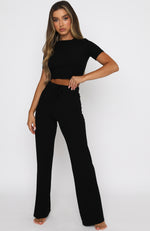 Adore You Ribbed Pants Black