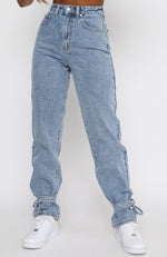 Hard To Believe Straight Leg Denim Jeans Washed Blue