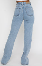 Be Cool Straight Leg Denim Jeans Washed Blue