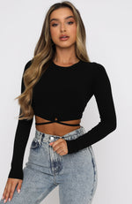 Ever After Long Sleeve Crop Black