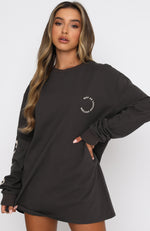If You Stay Long Sleeve Tee Charcoal
