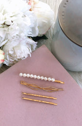 Kinsley Hair Pin Set Pearl/Gold