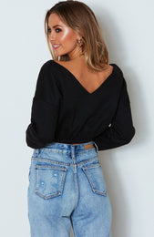 Jay Off Shoulder Sweater Black