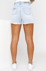 Time Out Denim Shorts Light Blue