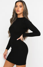 Lift Yourself Knit Dress Black