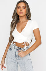 Set To Rule Ribbed Crop White