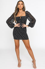 Marina Long Sleeve Mini Dress Black Floral