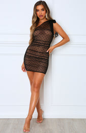 Mai Tai One Shoulder Dress Black
