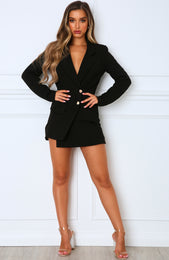 Hold The Line Blazer Dress Black