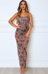 Long Time Coming Maxi Dress Leopard Mesh