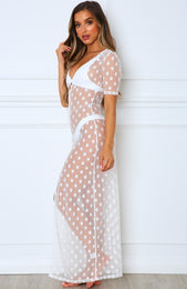 Light Touch Maxi Dress White Polka