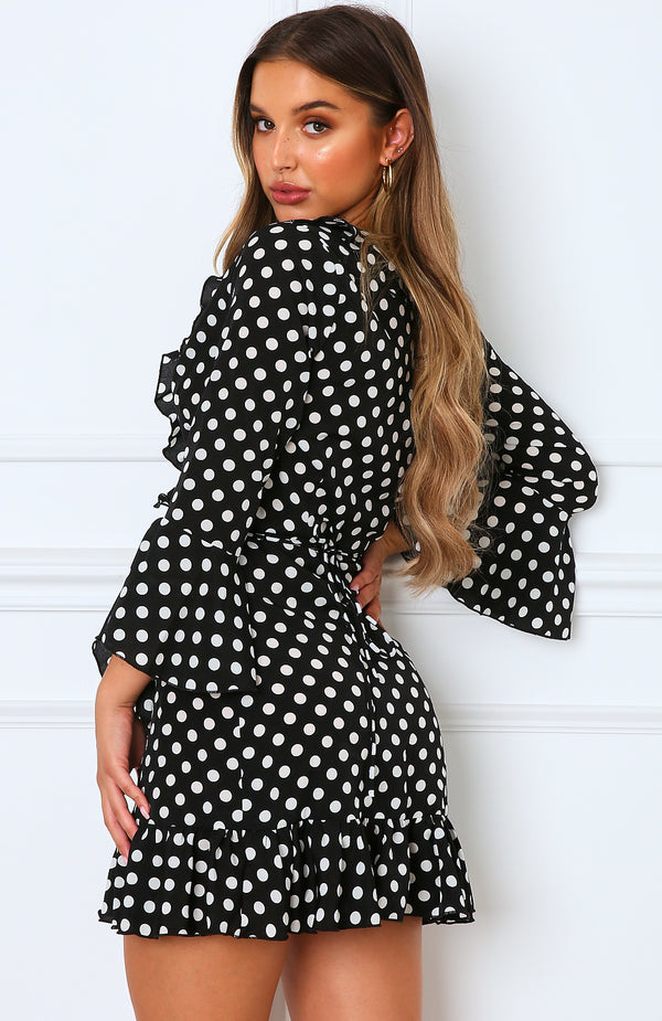 Single Focus Mini Dress Black Polka Dot