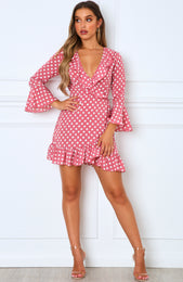 Single Focus Mini Dress Pink Polka Dot