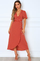 Notes On Paris Maxi Dress Rust Polka Dot
