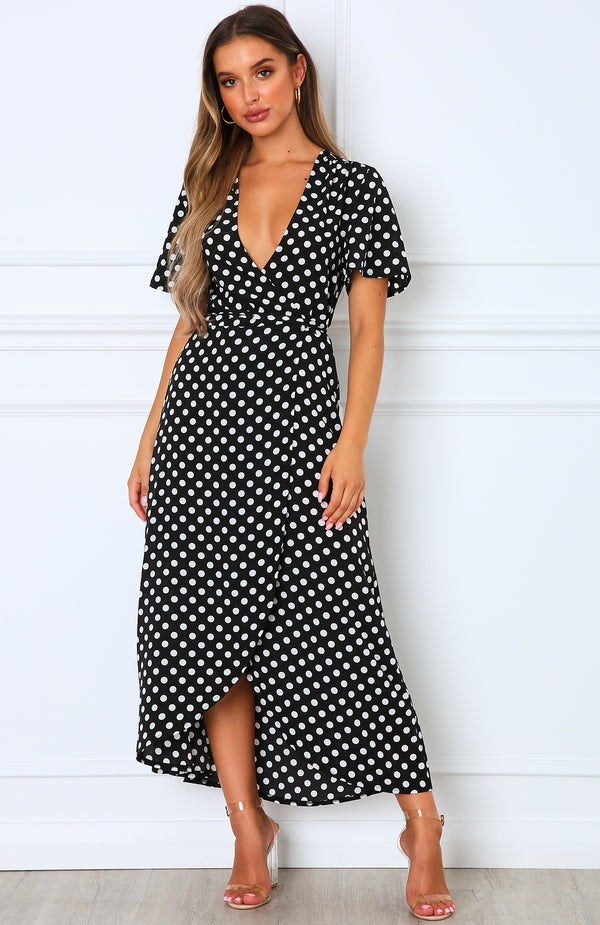 Notes On Paris Maxi Dress Black Polka Dot