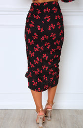 First Place Midi Skirt Black/Coral