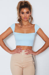Dionne Square Neck Crop Baby Blue