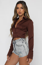 Postcards From Paris Long Sleeve Crop Chocolate