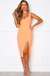 Bliss Pop Midi Dress Peach