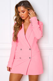 Long Island Blazer Dress Neon Pink