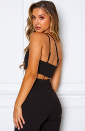 Tutti Fruity One Shoulder Crop Black