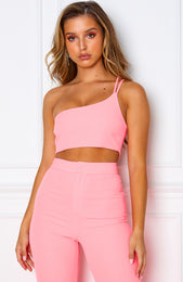 Tutti Fruity One Shoulder Crop Neon Pink