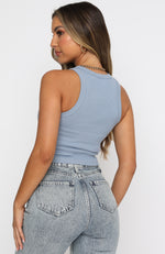 On The Go Ribbed Crop Steel Blue