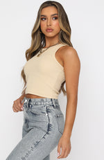 On The Go Ribbed Crop Beige