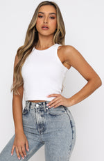 On The Go Ribbed Crop White